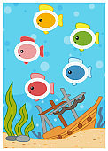 Trace the dotted lines in the shape of ovals, fish. Education game for children