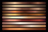 Bronze metallic gradient vector set