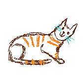 Funny red tabby sitting cat. Wax crayon like child`s hand drawn cute kitten art. Pastel chalk or pencil line stroke.
