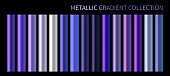 Metallic neon blue purple chrome gradient vector colorful palette set. Holographic background color swatch template for banner, screen, mobile, label, bar signboard. Metal color gradient vector design