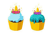 Unicorn cupcakes with shiny icing. Fairy cakes in paper cup. Tasty desserts with horn. Vector illustration