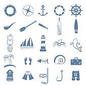 ocean line art icons set