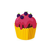 Cupcake with blackberry and red icing. Fairy cake in paper cup. Tasty dessert with frosting. Vector illustration