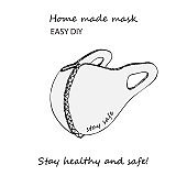 Design concept of Medical information poster with text Stay healthy and safe Home made face pollution textile mask. Hand drawn line icon. Minimalistic style.