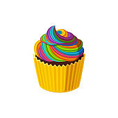 Cupcake with swirled rainbow icing. Tasty muffin with cream. Vector illustration in cartoon style