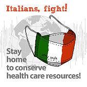 Design concept of Medical information poster against virus epidemic Italians, fight Stay home to conserve health care resources Hand drawn face textile mask with national flag and text Stay Safe