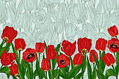 Greeting background with Spring flower tulips bouquet in red and green colors. Horizontal seamless pattern