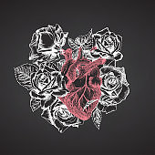 Heart with bouquet roses on chalkboard Realistic hand-drawn icon of human internal organ and flower frame. Sketch Engraving style Medical post-viral rehabilitation design concept. Tattoos art