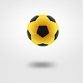 Gold soccer ball on white background.