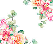Watercolor eucalyptus, pink and tea roses and lily bouquet  floral frame template. Hand drawn illustration. Flower scape, in full bloom.