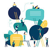 Vector flat illustration, a group of people communicates through the Internet social networks, the concept of communication, discussing business, news, acquaintance.