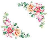 Watercolor eucalyptus, pink and tea roses and lily bouquet frame  floral template. Hand drawn illustration. Flower scape, in full bloom.