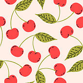 Red cherries with leaf, berry fruits seamless pattern