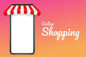 Vector illustration of a mobile phone with a roof The concept of online shopping and selling products online.