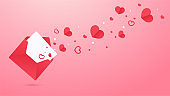 A love letter opened and a red heart flew out of the letter. Leave space for adding text.