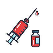 Syringe Icon. Medical syringe to prevent and treat coronavirus. Disease vaccine concept.