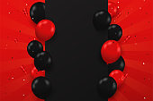 Black and red balloons floating on the side of the text box BlackFriday sale festive special.