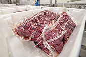 Large cuts of beef packed in a vacuum plastic bag