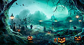 Pumpkins In Graveyard In The Spooky Night - Halloween Backdrop
