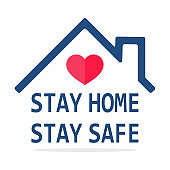Hand cursor icon with blue and yellow buttons Click here for a link to the website.Stay home icon Vector house roof that protects the heart. The concept of staying at home to prevent coronavirus