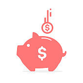 Pink Pig Piggy Vector That has a lot of dollars inside Money saving concept.
