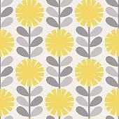 Scandinavian style dandelions vector gray and yellow pattern.