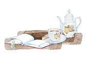 Tea set and a book