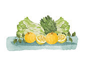 Watercolor citron fruits and vegetables