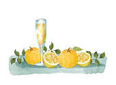 Watercolor citron fruits and juice