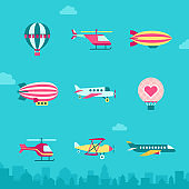 Air transport vector icon set (flat). Part five.