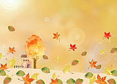 Watercolor house with autumn leaves
