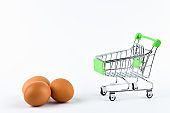 Buying eggs trading concept. Shop online. Basket and eggs on a white background. healthy eating concept business concept