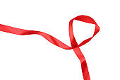 intertwined red ribbon separating white background