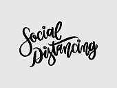 Social distancing. Hand written lettering isolated on white background.Vector template for poster, social network, banner, cards.