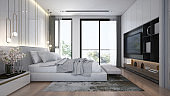 Modern luxury interior design of beautiful bedroom and tv console wall