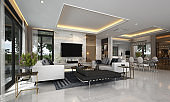 Modern luxury living and dining room interior design