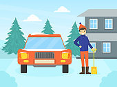 Man Cleaning His Car out of Snow, Winter Outdoor Activity Concept Vector Illustration