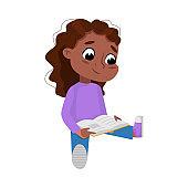 Adorable African American Girl Sitting on Floor and Reading Book, Preschooler Kid or Elementary School Student Enjoying Literature Cartoon Style Vector Illustration