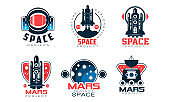 Mars Project Logo Collection, Space, Exploration, Red Planet Colonization Labels Vector Illustration