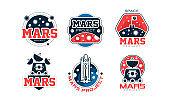 Mars Project Logo Design Templates Collection, Space Adventure, Exploration, Red Planet Colonization Labels Vector Illustration