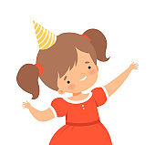 Cheerful Little Girl Wearing Birthday Hat Waving Hands Vector Illustration