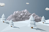 Winter background with mountains in low polygonal style