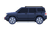 Black Jeep Car, Government or Presidential Off Road Vehicle, Luxury Business Transportation, Side View Flat Vector Illustration