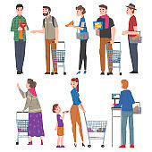 People with Shopping Carts and Baskets Set, Men and Women Doing Shopping at Mall or Supermarket Cartoon Style Vector Illustration on White Background