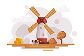 Farm Scene with Vintage Windmill at Autumn Rural Landscape, Agriculture and Farming Concept Cartoon Vector Illustration