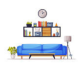Modern Cozy Room Interior Design, Blue Sofa, Bookshelf Comfy Furniture and Home Decoration Accessories Vector Illustration