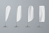 Set of transparent flags, outdoor exhibition accessory, vector illustration