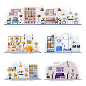 Cosy Modern Room Interiors Design Collection, Trendy Apartments with Comfy Furniture and Home Decor Vector Illustration