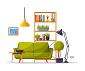 Modern Cozy Room Interior Design, Bookcase, Sofa Comfy Furniture and Home Decoration Accessories Vector Illustration on White Background
