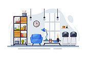 Modern Room Interior Design, Cozy Apartments with Comfy Furniture and Home Decor, Bookcase, Armchair and Coffee Table in front of Window Vector Illustration